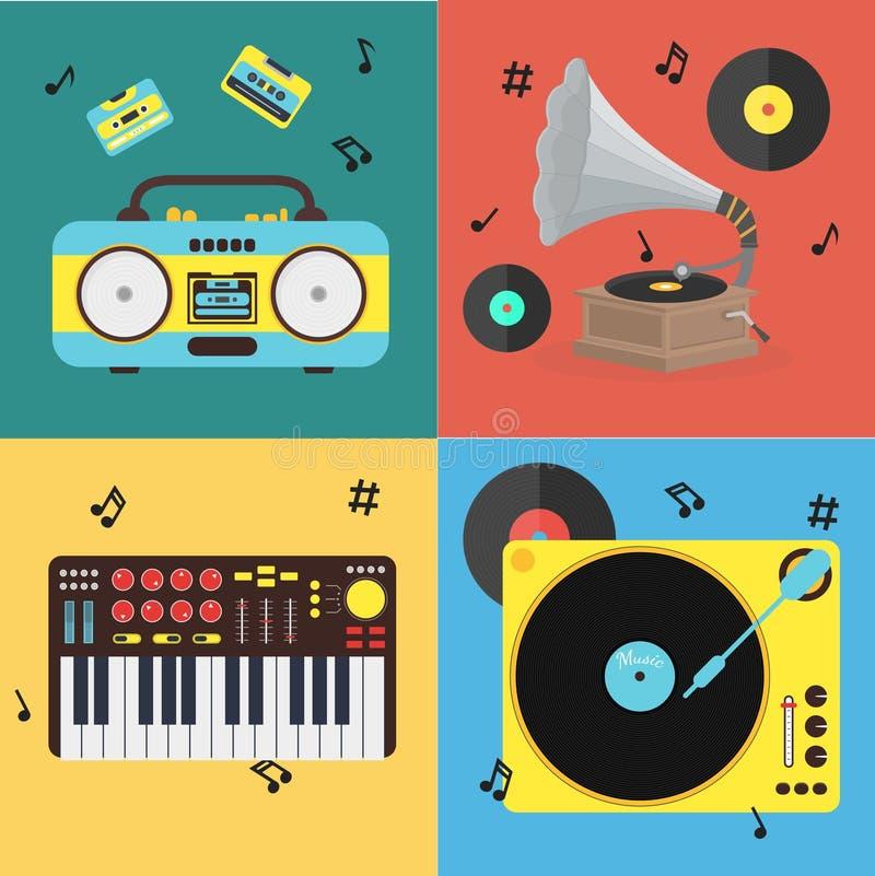 Tecknad filmmusikinstrumentuppsättning vektor royaltyfri illustrationer