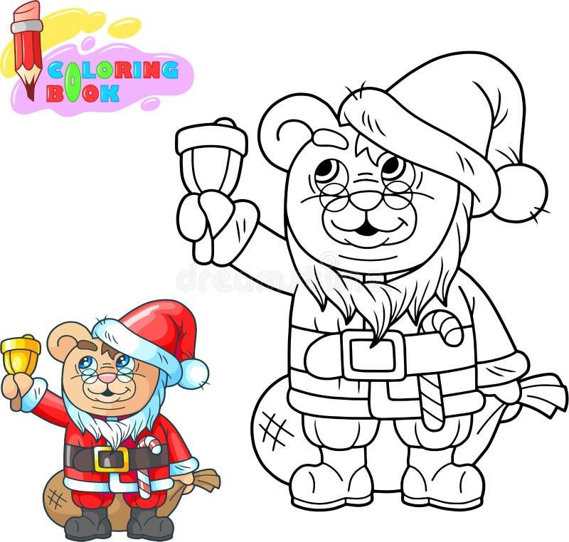Tecknad filmnallebjörn Santa Claus färgläggningbok, rolig illustration stock illustrationer