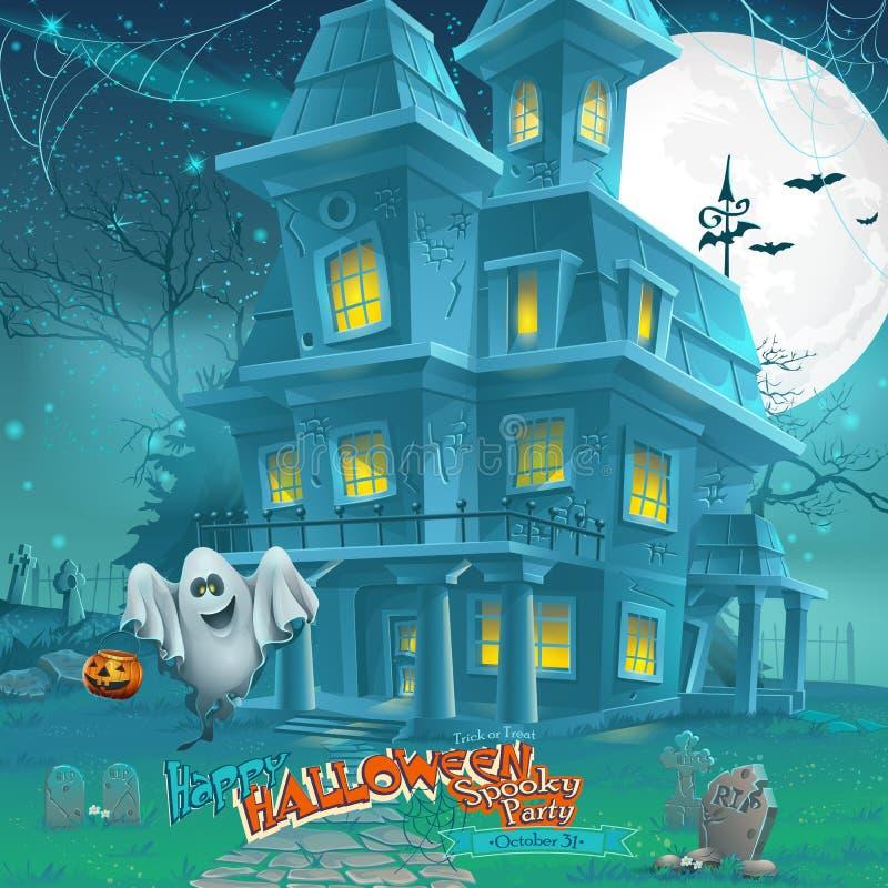 Tecknad filmnatt ett mystiskt spökat hus i månskenet royaltyfri illustrationer