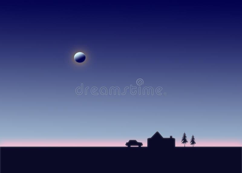 Tecknad filmnatt Måne i himlen, parkerad bil, hus, koja, träd Tyst ställe och lugna begrepp royaltyfri bild