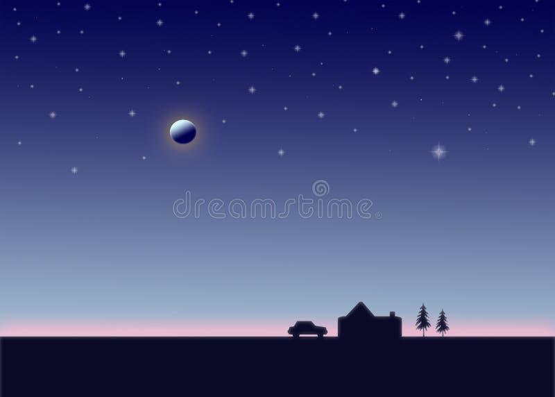 Tecknad filmnatt Måne och stjärnor i himlen, parkerad bil, hus, koja, träd Tyst ställe och lugna begrepp royaltyfria foton