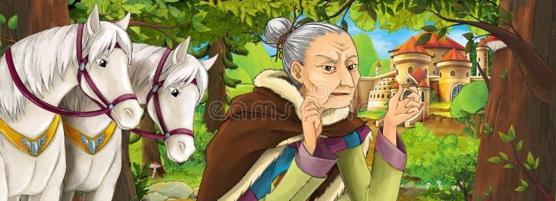 Tecknad filmnaturplats med den härliga slotten nära skogen med häxatrollkvinnan för gammal kvinna royaltyfri illustrationer