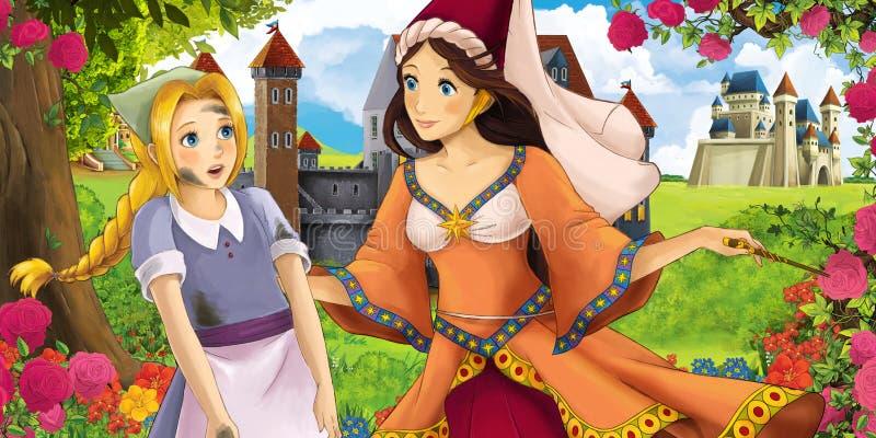 Tecknad filmnaturplats med härliga slottar nära skogen med den härliga unga prinsessatrollkvinnan och flickan - illustration royaltyfri illustrationer