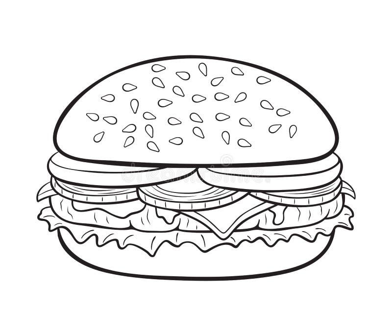 Tecknad filmostburgareillustration vektor illustrationer