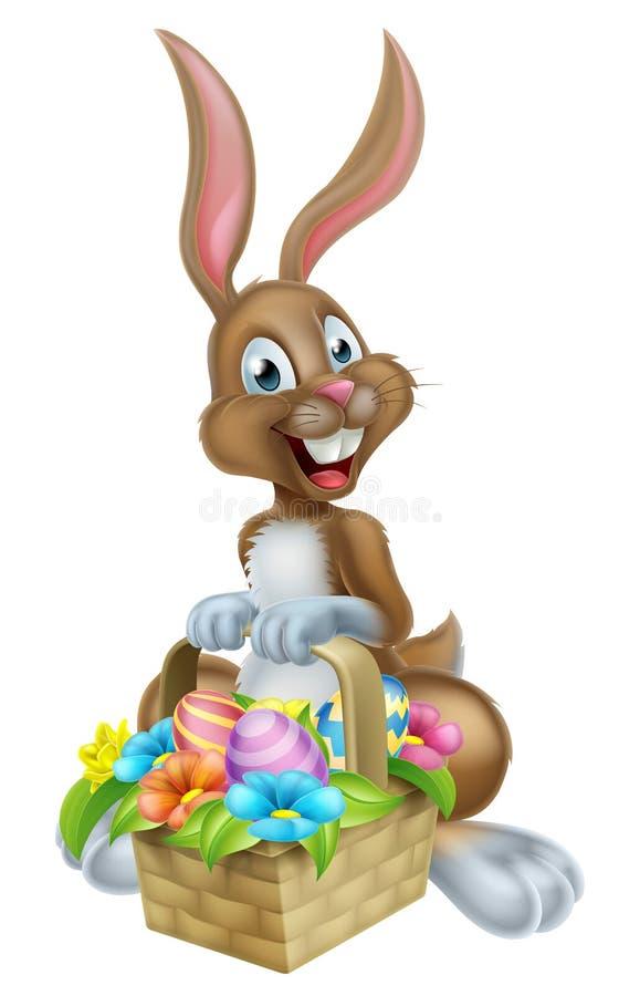 Tecknad filmpåsk Bunny Rabbit med äggkorgen stock illustrationer
