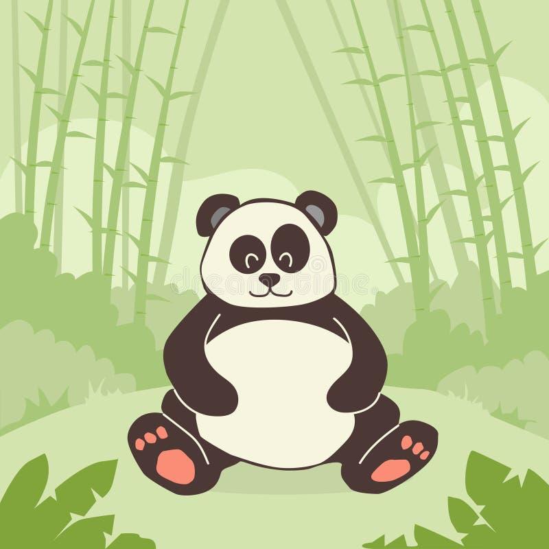 Tecknad filmPanda Bear Sitting Green Bamboo djungel stock illustrationer