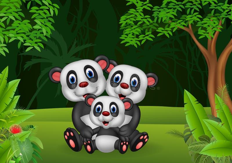 Tecknad filmpandafamilj i djungeln stock illustrationer