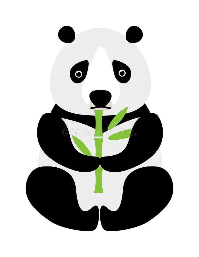 Tecknad filmpandasammanträde och äta vektorn för djur björn för bambu den roliga vektor illustrationer