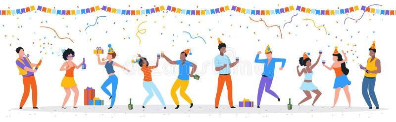 Tecknad filmpartifolk Moderiktig lycklig dansa grupp av män och kvinnor med partihattar, konfettier och drinkar Vektorf?delsedag vektor illustrationer