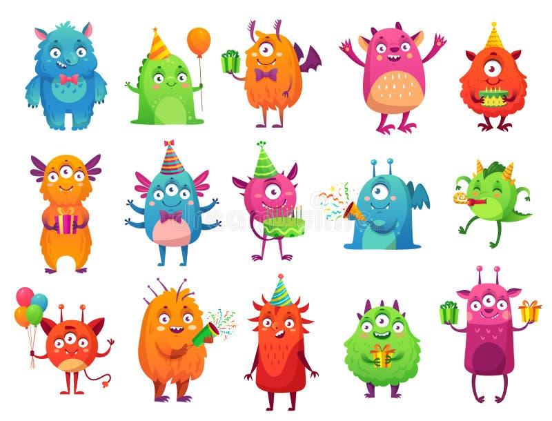 Tecknad filmpartimonster Gulliga gigantiska gåvor för lycklig födelsedag, rolig främmande maskot och monster med hälsningkakavekt stock illustrationer