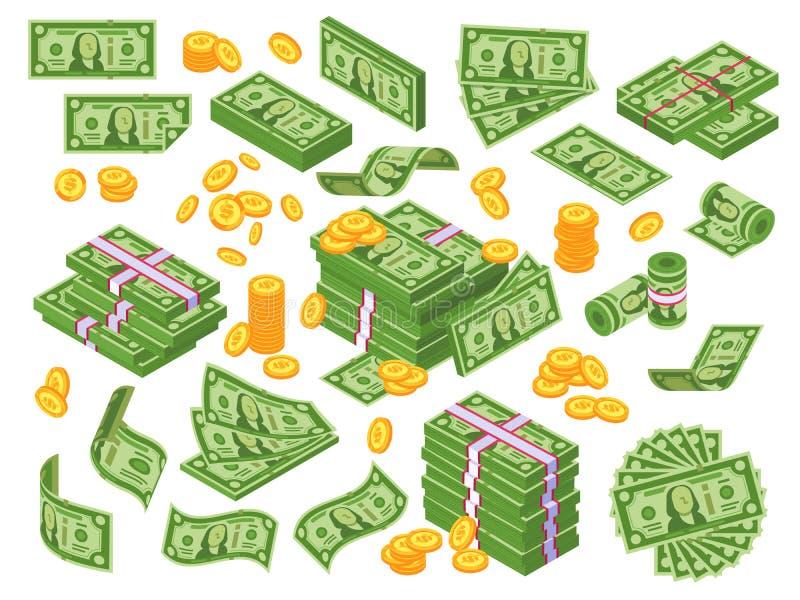 Tecknad filmpengar Sedlar för dollarräkningar staplar, högen av dollar och sedelhögen Kassa traver vektorillustrationuppsättninge stock illustrationer