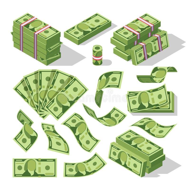 Tecknad filmpengarräkningar Symboler för vektor för gröna dollarsedlar kontanta stock illustrationer