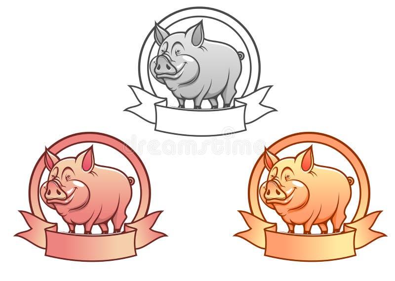 tecknad filmpig royaltyfri illustrationer