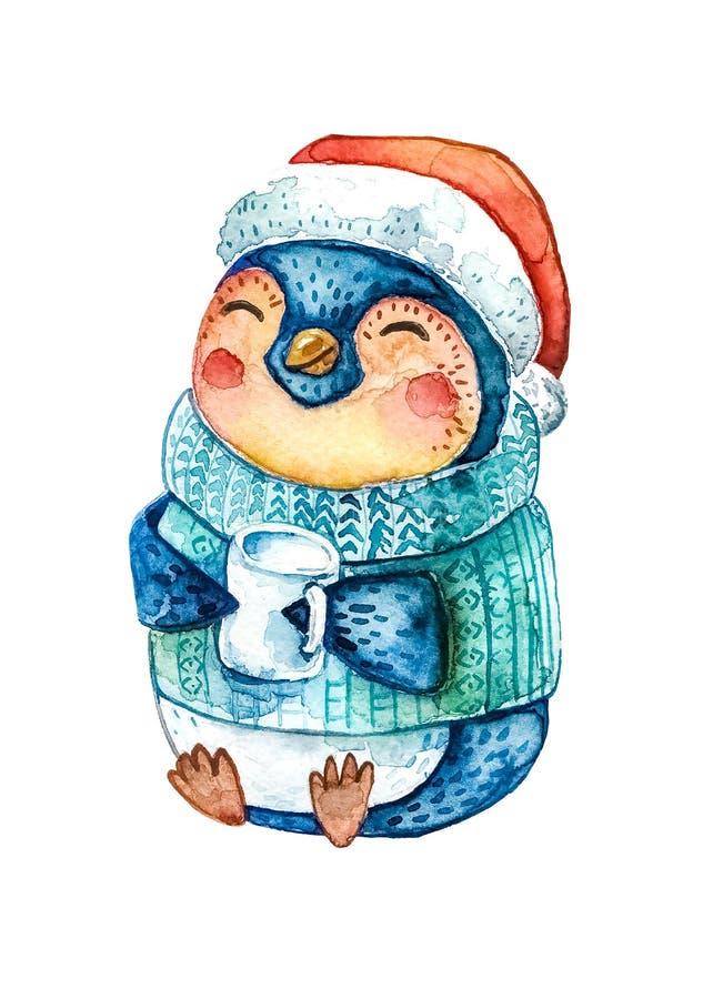 Tecknad filmpingvinet i en röd Santa Claus hatt och en varm blå tröja som rymmer ett kaffe, rånar i hans händer Vit bakgrund Isol royaltyfri illustrationer