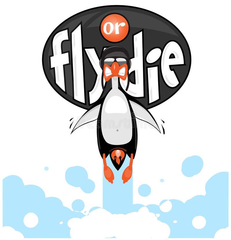 Tecknad filmpingvinflyg som en raket med flamman från hans röv royaltyfria foton