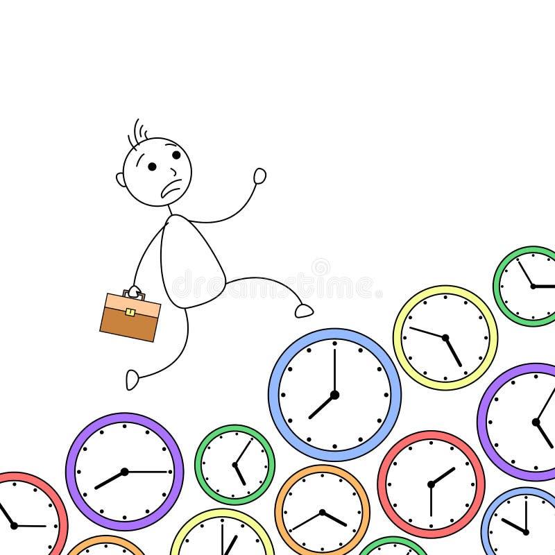 Tecknad filmpinneman som kör över klockor i brådska vektor illustrationer
