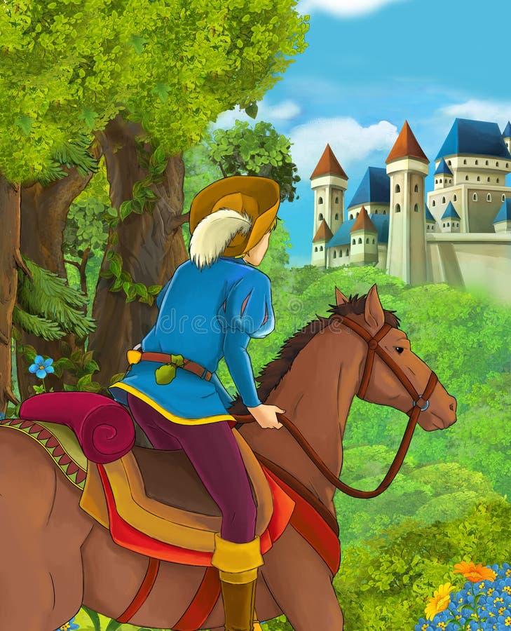 Tecknad filmplats av den härliga prinsen i skogen nära slott i bakgrunden royaltyfri illustrationer