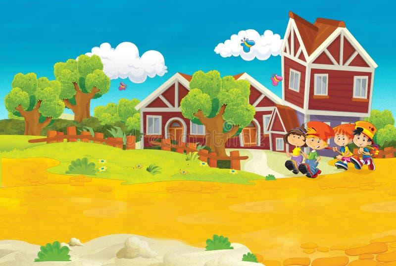 Tecknad filmplats med barn som går nära skola royaltyfri illustrationer