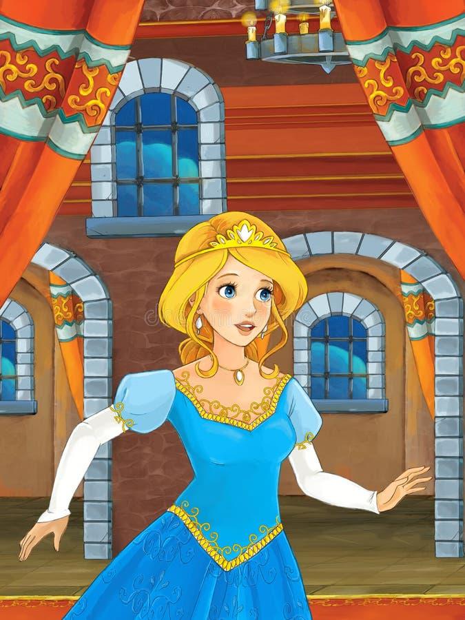 Tecknad filmplats med den härliga prinsessan som kommer ut ur slotten royaltyfri illustrationer