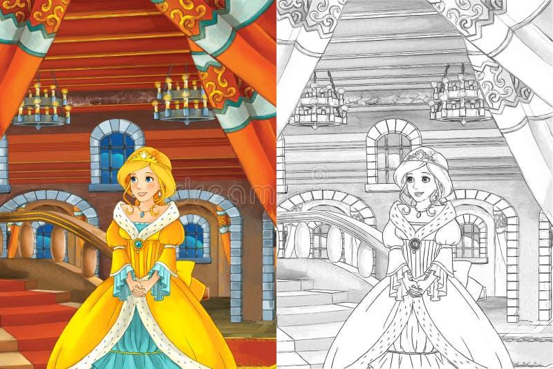Tecknad filmplats med den härliga prinsessan som kommer ut ur slotten - härlig mangaflicka - med färgläggningsidan vektor illustrationer