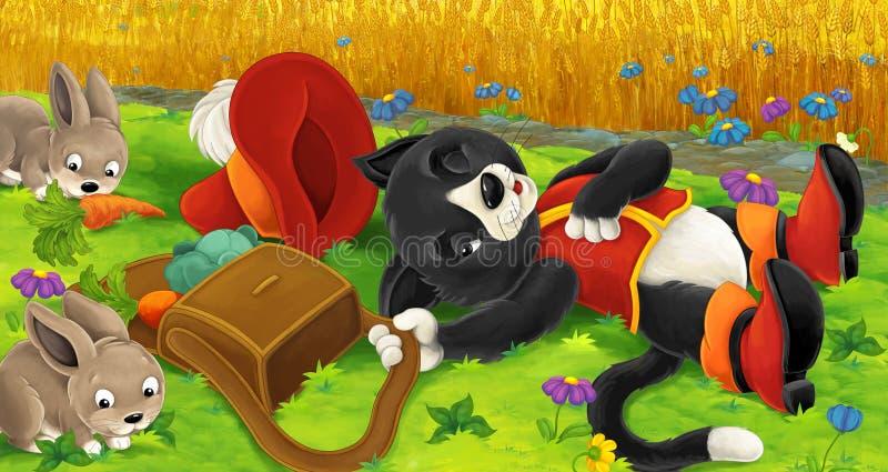Tecknad filmplats med den klyftiga katten som låtsar för att sova - att locka oavbrutet tjata in i fälla stock illustrationer