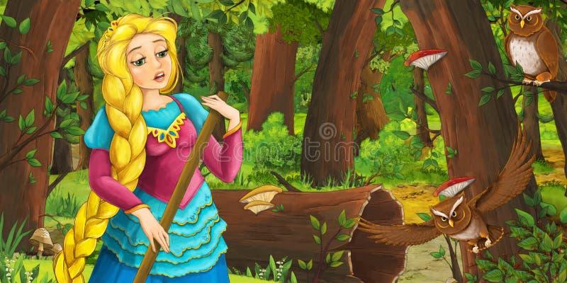 Tecknad filmplats med den lyckliga ung flickaprinsessan i skogen som möter par av ugglaflyget stock illustrationer