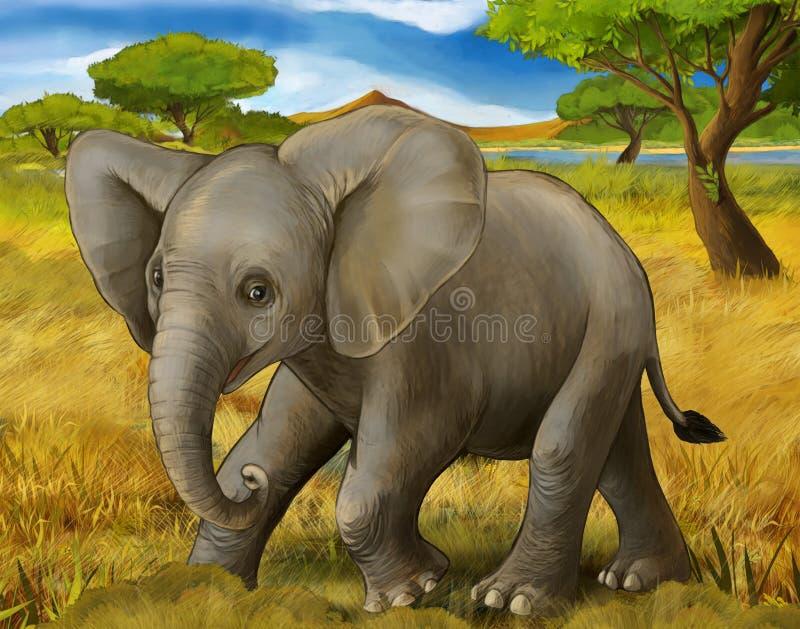 Tecknad filmplats med den unga elefanten som reser till och med någon ängsafari vektor illustrationer