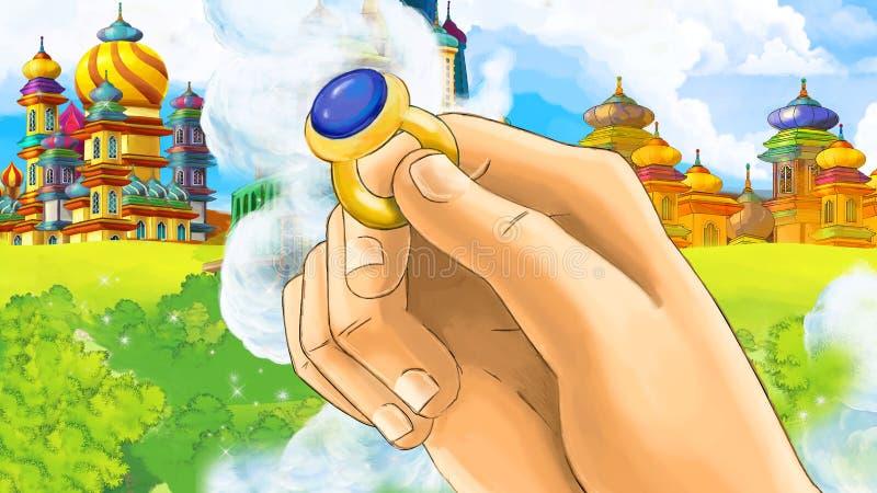 Tecknad filmplats med det medeltida arabiska kungariket med slut upp förestående med cirkeln - Far East smyckar - etappen för oli stock illustrationer
