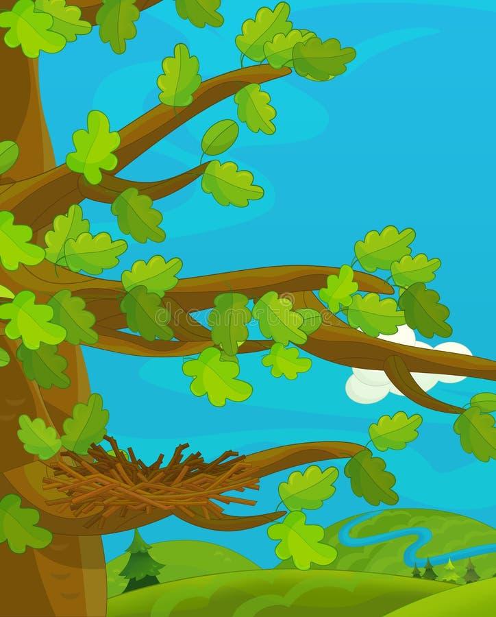 Tecknad filmplats med det tomma redet vektor illustrationer