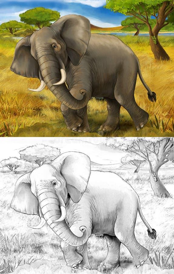 Tecknad filmplats med elefantsafari royaltyfri illustrationer