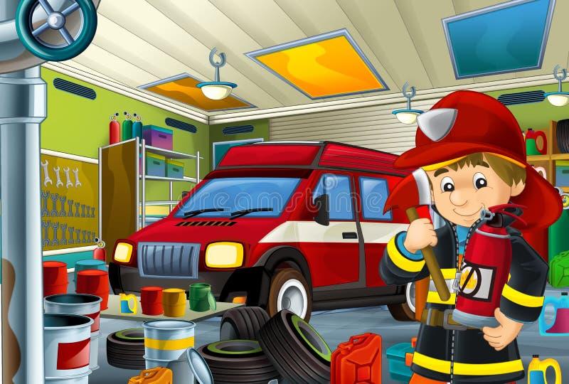 Tecknad filmplats med garagebrandmanmekanikern som arbetar repearing något medel - bil- eller rengörande arbetsställe för brandma stock illustrationer