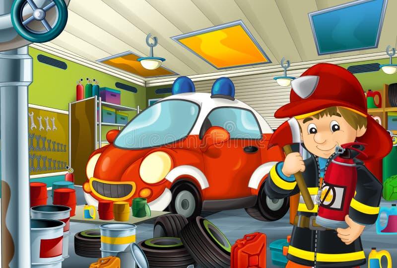 Tecknad filmplats med garagebrandmanmekanikern som arbetar repearing något medel - bil- eller rengörande arbetsställe för brandma vektor illustrationer