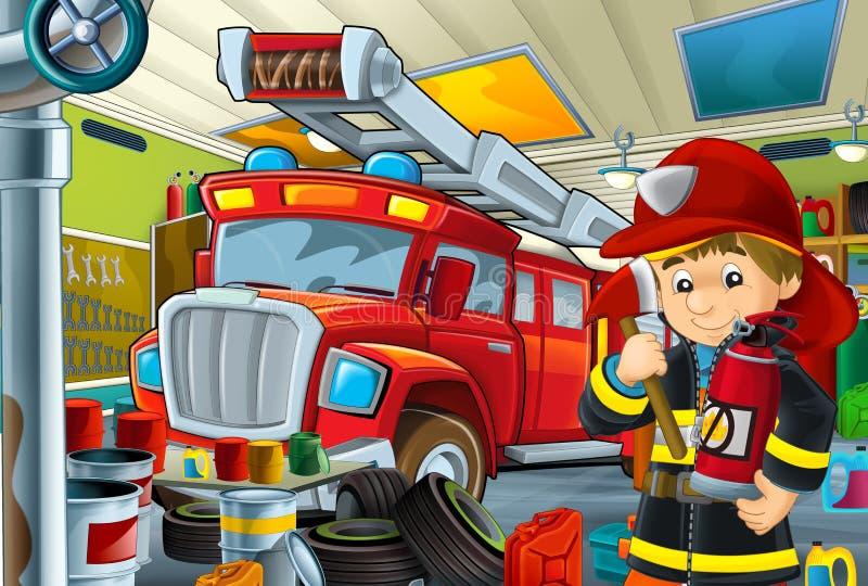 Tecknad filmplats med garagebrandmanmekanikern som arbetar repearing något medel - bil- eller rengörande arbetsställe för brandma royaltyfri illustrationer