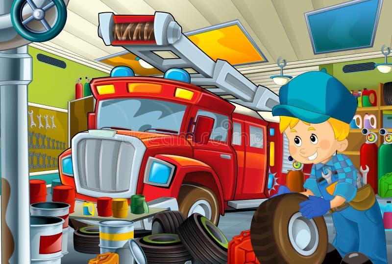 Tecknad filmplats med garagemekanikerarbete som repearing något medel - bil- eller rengörande arbetsställe för brandman royaltyfri illustrationer