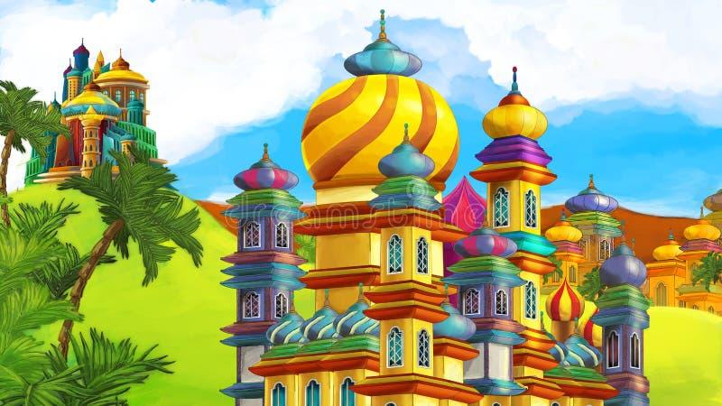 Tecknad filmplats med härliga medeltida slottar - Far East kungarike royaltyfri illustrationer