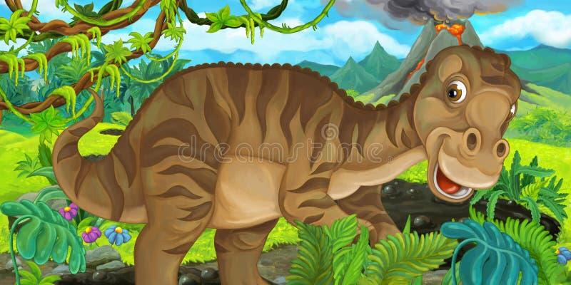 Tecknad filmplats med lycklig dinosauriemaiasauria i vildmarken vektor illustrationer