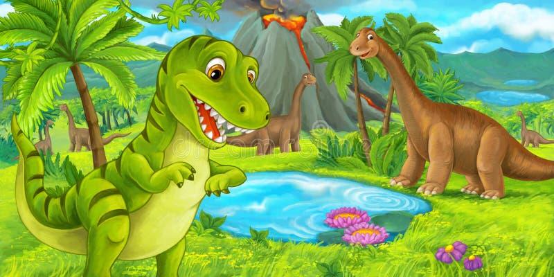 Tecknad filmplats med lycklig dinosaurietyrannosarierex nära att få utbrott vulkan och diplodocusen royaltyfri illustrationer