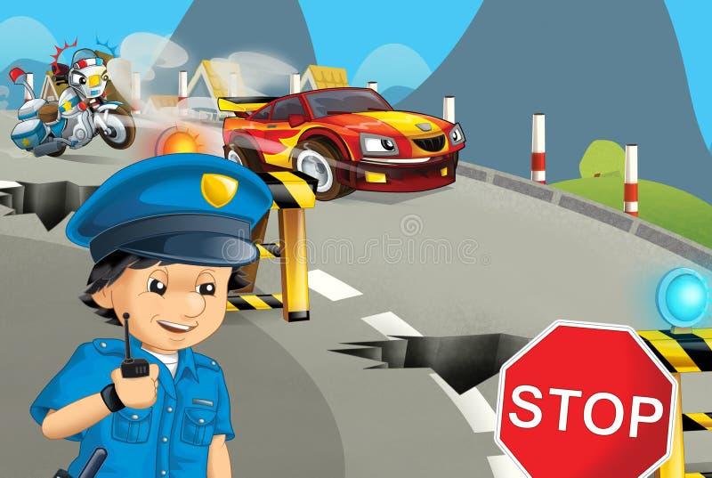 Tecknad filmplats med polismotorcykeln som kör till och med stadspolisen vektor illustrationer