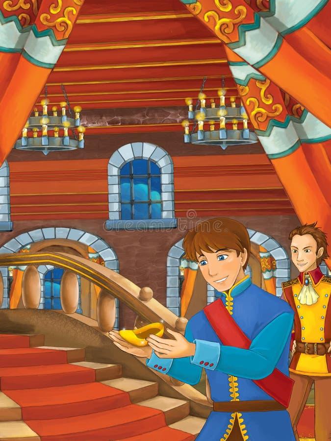 Tecknad filmplats med prinsen som finner den guld- skon på trappan stock illustrationer