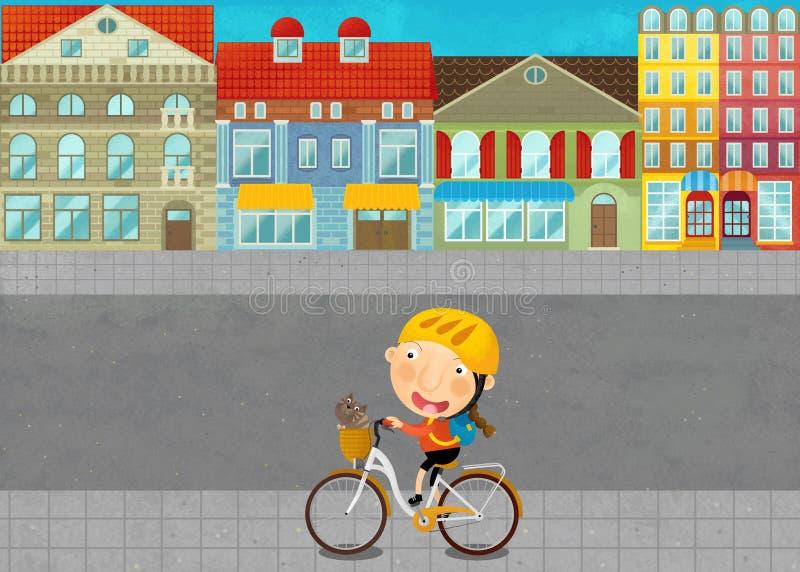 Tecknad filmplats med unga flickan på vägen i staden vektor illustrationer
