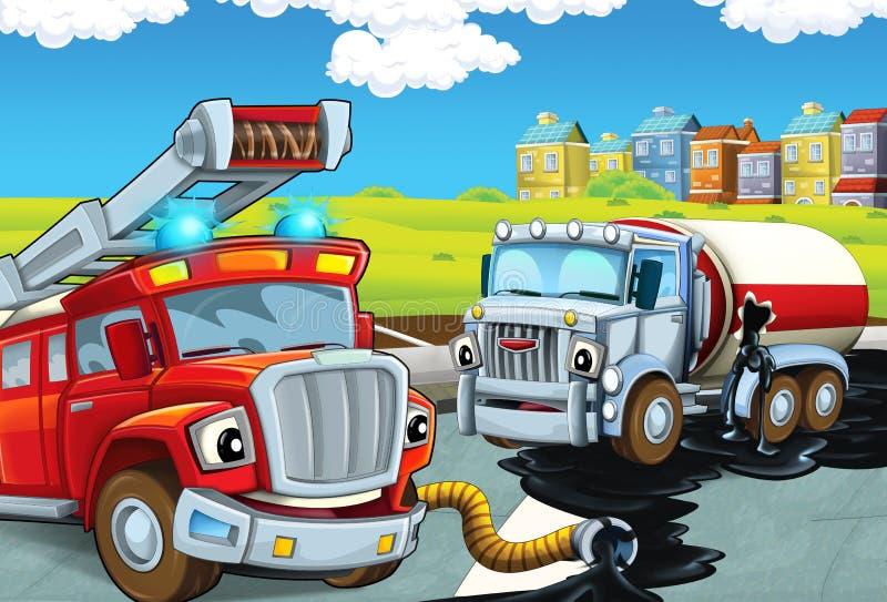 Tecknad filmplatsen med den röda firetrucksammankomsten spillde olja från den kraschade cisternen på gatan - arbetsuppgift stock illustrationer