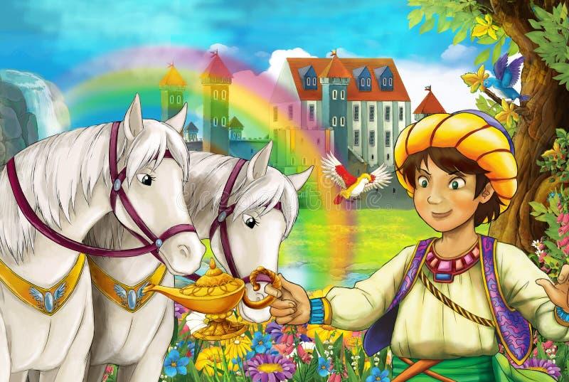 Tecknad filmplatsen med härliga par av hästar strömmar regnbågen och slotten i det unga prinsanseendet för bakgrund som ler och s royaltyfri illustrationer
