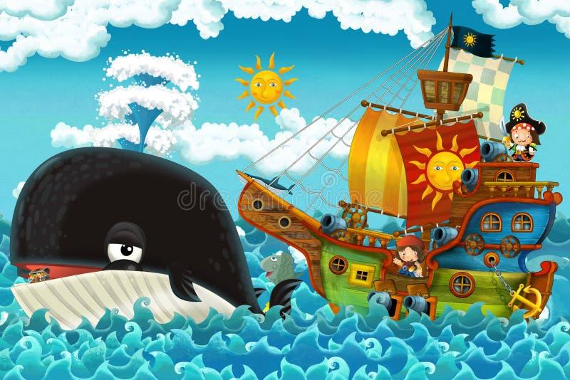 Tecknad filmplatsen med piratkopierar skeppsegling till och med haven med lyckligt piratkopierar möte simma valet vektor illustrationer