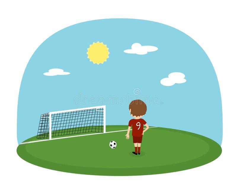 Tecknad filmpojkeövning som sparkar på utbildningsfotbollsarena Fotbollbakgrund för solig dag stock illustrationer