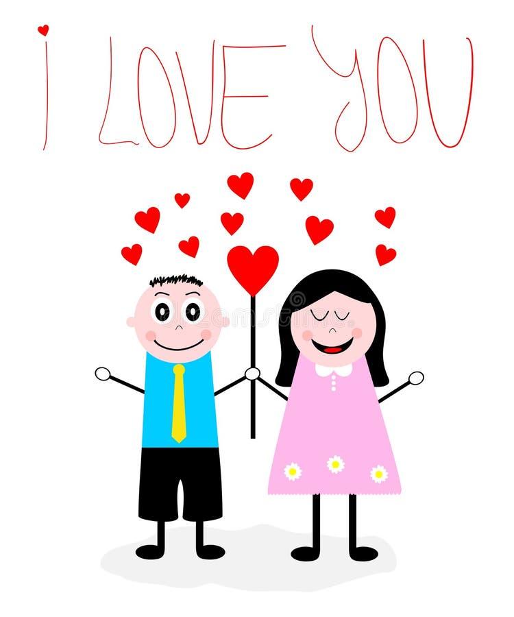Tecknad filmpojke en förälskad flicka stock illustrationer