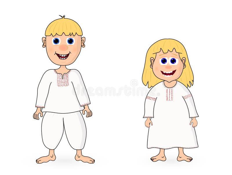 Tecknad filmpojke och flicka för vektor gullig vektor illustrationer