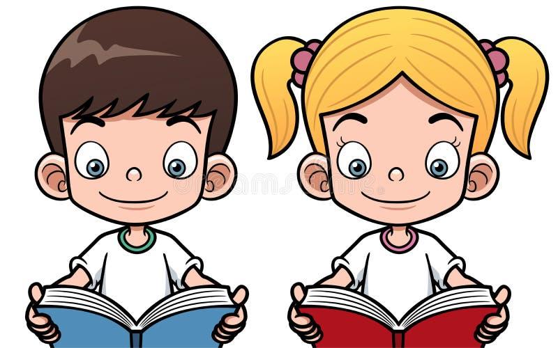 Tecknad filmpojke och flicka som läser en bok vektor illustrationer