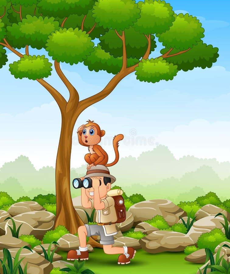 Tecknad filmpojke som använder kikare med en apa över hennes huvud i skogen vektor illustrationer