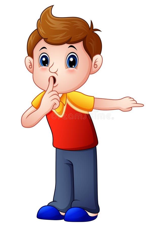 Tecknad filmpojke som gör en gest för en tystnad royaltyfri illustrationer