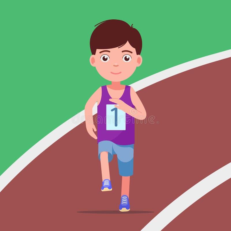 Tecknad filmpojke som kör en maraton i en stadion royaltyfri illustrationer